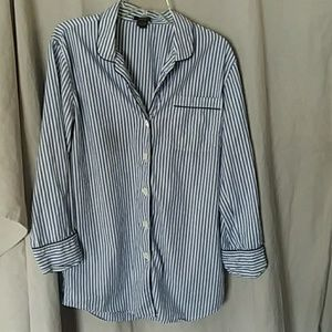J Crew Pinstriped sleep shirt M